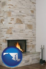 maryland map icon and a limestone fireplace