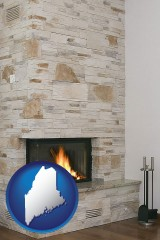 maine map icon and a limestone fireplace
