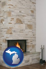 michigan a limestone fireplace