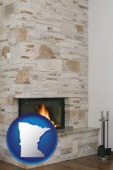 minnesota map icon and a limestone fireplace