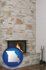 missouri map icon and a limestone fireplace