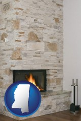 mississippi map icon and a limestone fireplace