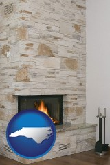 north-carolina map icon and a limestone fireplace