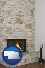 nebraska a limestone fireplace