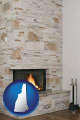 new-hampshire map icon and a limestone fireplace