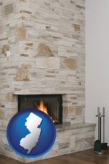 new-jersey map icon and a limestone fireplace