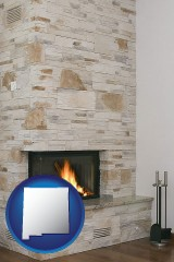 new-mexico map icon and a limestone fireplace