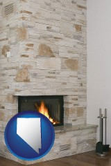 nevada a limestone fireplace