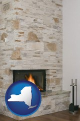 new-york map icon and a limestone fireplace