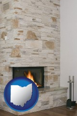ohio a limestone fireplace