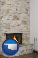 oklahoma map icon and a limestone fireplace
