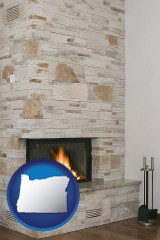 oregon a limestone fireplace