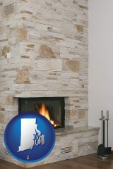 rhode-island map icon and a limestone fireplace