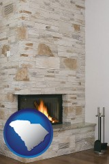 south-carolina a limestone fireplace