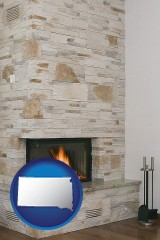 south-dakota map icon and a limestone fireplace