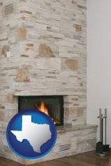 texas map icon and a limestone fireplace