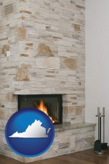 virginia map icon and a limestone fireplace