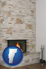 vermont map icon and a limestone fireplace