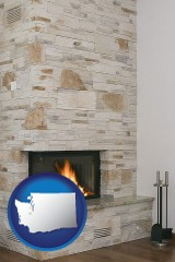 washington map icon and a limestone fireplace