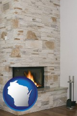 wisconsin a limestone fireplace