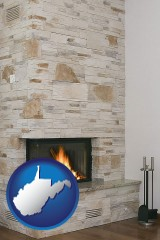 west-virginia map icon and a limestone fireplace