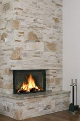a limestone fireplace