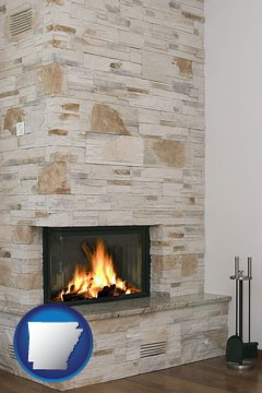 a limestone fireplace - with Arkansas icon