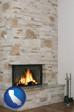 a limestone fireplace - with California icon