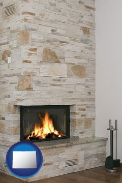 a limestone fireplace - with Colorado icon