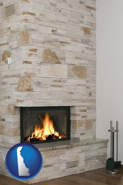 a limestone fireplace - with Delaware icon
