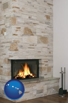 a limestone fireplace - with Hawaii icon