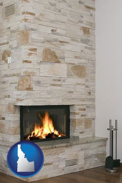 a limestone fireplace - with Idaho icon