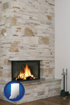 a limestone fireplace - with Indiana icon