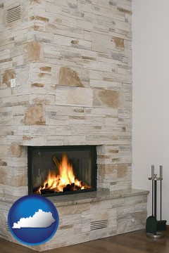 a limestone fireplace - with Kentucky icon
