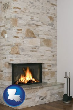 a limestone fireplace - with Louisiana icon
