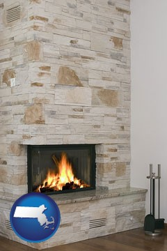 a limestone fireplace - with Massachusetts icon
