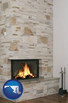 a limestone fireplace - with Maryland icon
