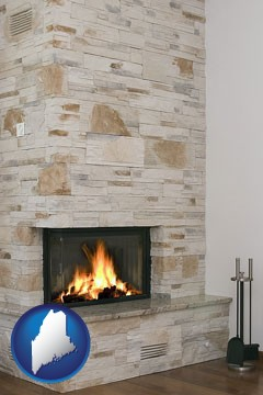 a limestone fireplace - with Maine icon