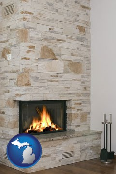 a limestone fireplace - with Michigan icon