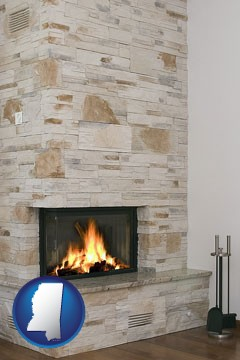 a limestone fireplace - with Mississippi icon
