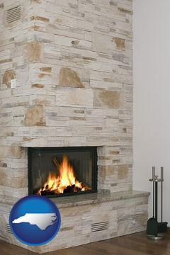 a limestone fireplace - with North Carolina icon