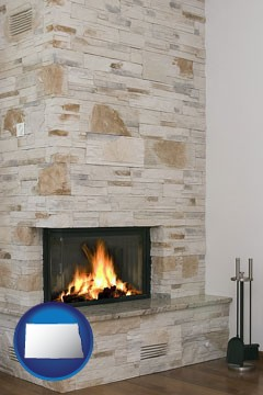 a limestone fireplace - with North Dakota icon