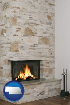 a limestone fireplace - with Nebraska icon