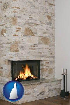 a limestone fireplace - with New Hampshire icon