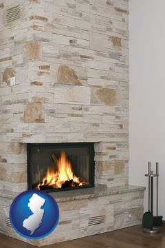 a limestone fireplace - with New Jersey icon