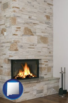 a limestone fireplace - with New Mexico icon