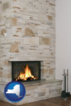 a limestone fireplace - with New York icon