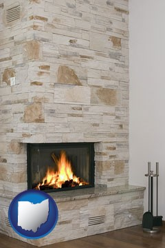 a limestone fireplace - with Ohio icon