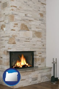 a limestone fireplace - with Oregon icon