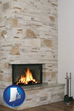 a limestone fireplace - with Rhode Island icon
